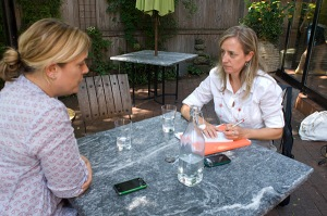 Interviewing Oleana chef Ana Sortun in her restaurants garden patio.
